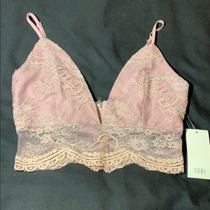 Dusty Pink Lace Bralette Crop Top